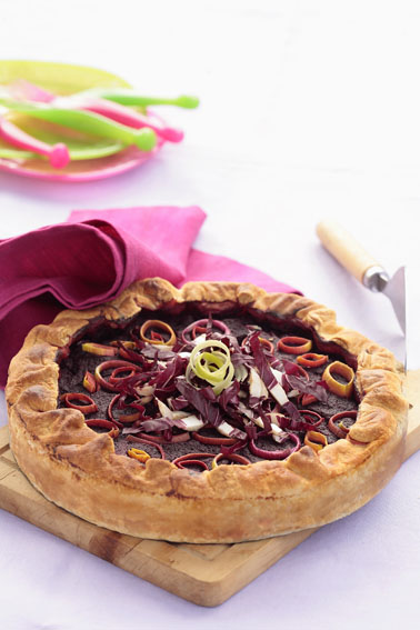 Beet Radicchio Leek and  Ricotta Pie