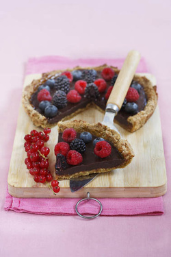 Pistachio Amaretto Crostata with Chocolate and Mixed Berries (Parve, GF)