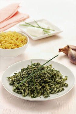Pasta with Swiss Chard and Goat Cheese Sauce (Dairy)