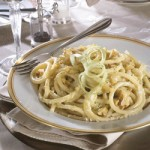 Bucatini Pasta in Cheese sauce with Hazelnuts and Thyme