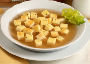 """Easy Passover Soup with Frittata (""""Dadini in Brodo"""") - (meat)"""