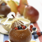 Baked Pears with Sorbet and Berries