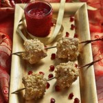 Turkey Hazelnut Skewers with Pomegranate Sauce