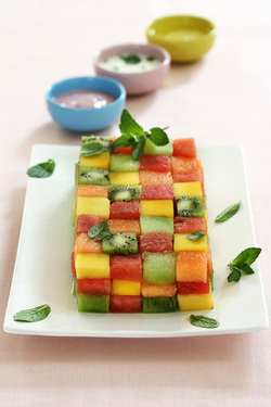 Edible Mosaic with Yogurt Sauces