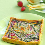 Savory Tart with Zucchini Flowers Asparagus and Strawberries by DinnerInVenice