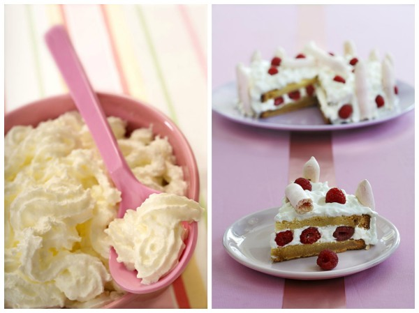 Raspberry Cake with Whipped Cream and Pink Meringues by DinnerinVenice